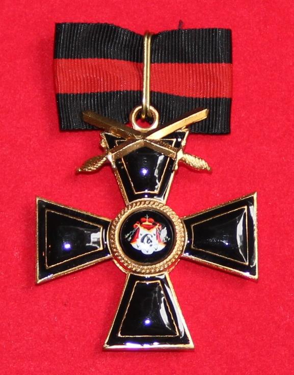 Крест орд.Св.Владимира 2 ст.(с верхними мечами,чёрной эмали)