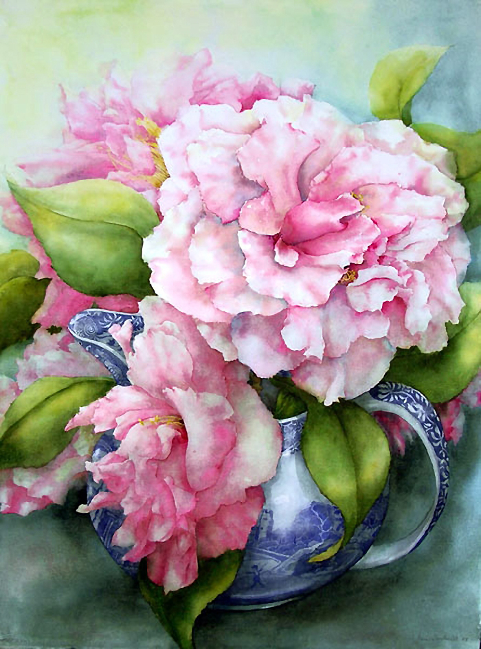 Цветок жасмина в вазе голубой! Акварели Pam Sackville