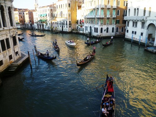 Италия. Венеция. Гранд канал - гондолы. (Italy. Venice. Grand Canal)