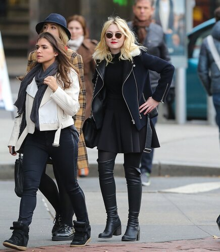 Dakota Fanning seen out and about with her female friends in New York City