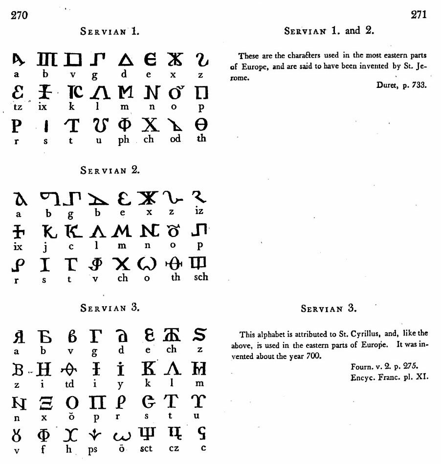 P. 270-271. SERVIAN 1, and 2. These are the chracters used in the most eastern parts of Europe, and are said to have been invented by St. Jerome. Duret, p. 733. SERVIAN 3. This alphabet is attributed to St. Cyrillus, and, like the above, is used in the e