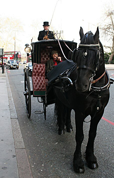 Mr Vasily Livanov OBE - The Russian Sherlock Holmes - takes a trip around London's attractions in an original Victorian horse-drawn hansom cab hired from the Sherlock Holmes Museum, after receiving his honour from Her Majesty The Queen.Русский Шерлок Хо