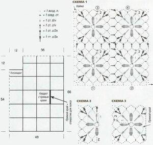 Пончо из кружевных квадратных мотивов