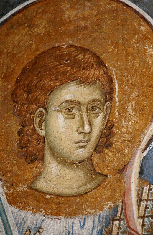 Святой мученик Нестор Солунский. Фреска монастыря Высокие Дечаны, Косово, Сербия. Около 1350 года. Фрагмент.