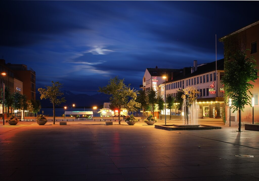 Norway, Molde Evening.The Trade square. Moldetorget
