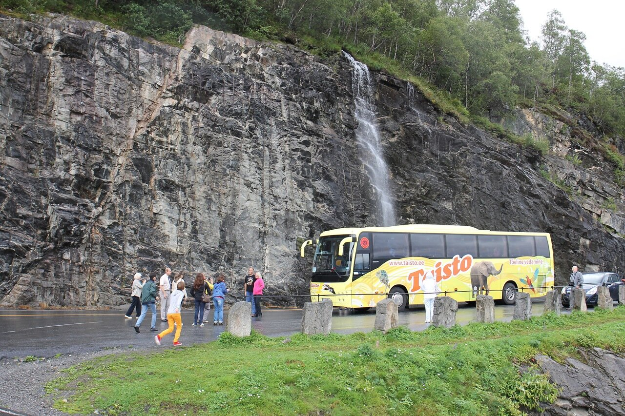 Norway, Eagleroad, a waterfall, Geirangerfjord. Norway,the Eagle Road, waterfall, Geirangerfjord.