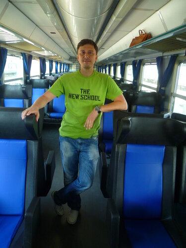 Автор блога в итальянском поезде