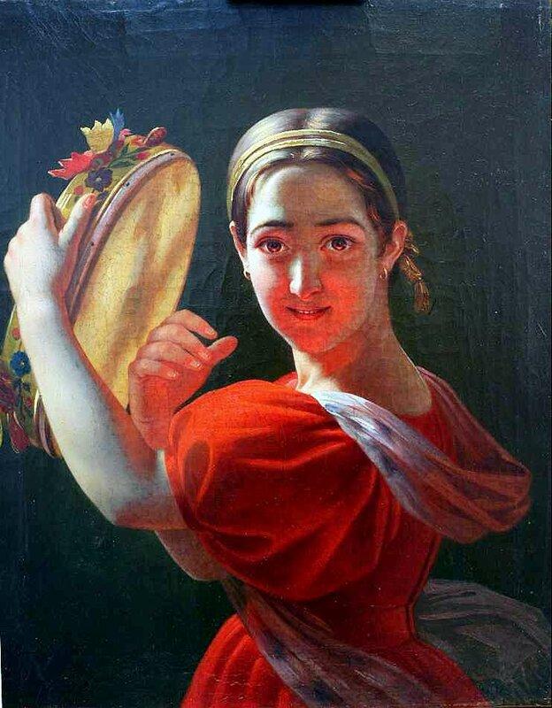 Девушка с тамбурином, Алексей Тыранов, живопись