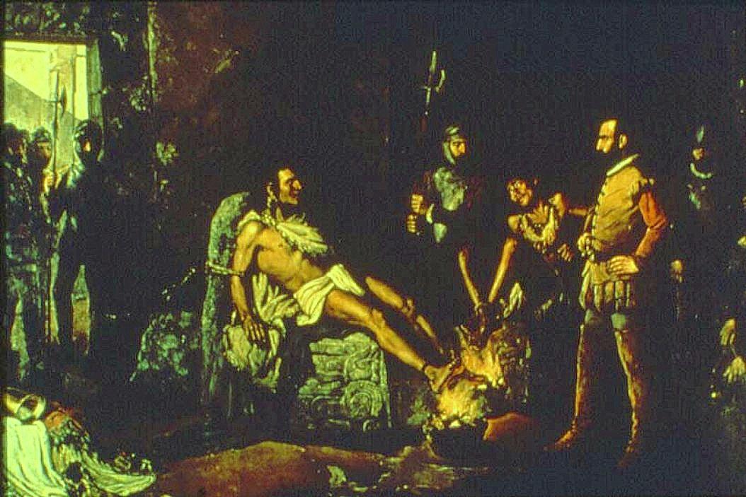 Пытка Куаутемока. Картина Леандро Исагирре, 1893 год.jpg