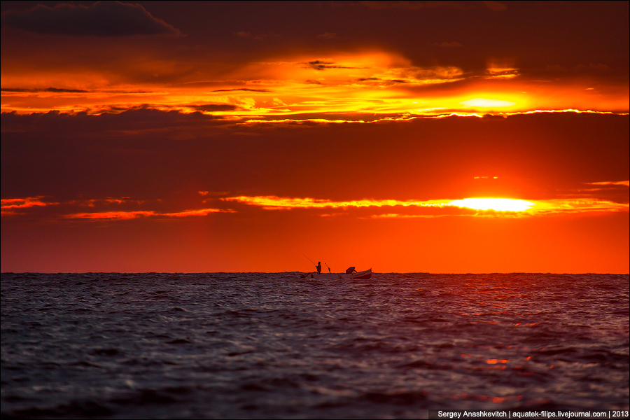 Закат и рыбаки