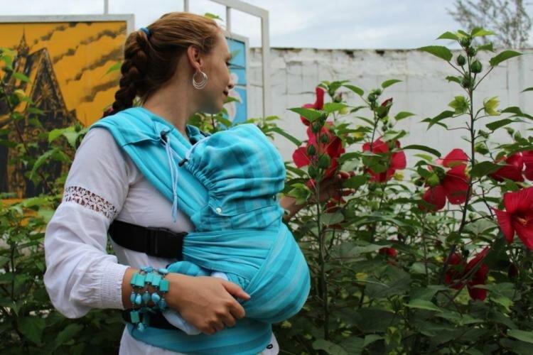 Эргономиный рюкзак Гусленок из шарфовой ткани Комфорт
