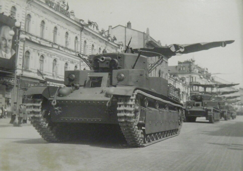 T-28 passing along Khreschatyk during a May Day Parade, Kiev, May 1st, 1939