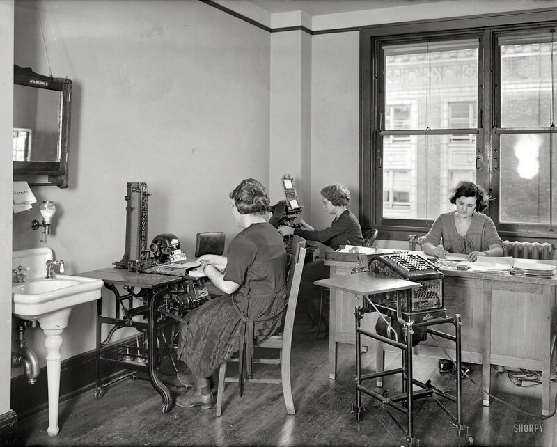 December 1921. Washington, D.C. 'Machinists Association.' Mad amenities in this office paradise include windows and a sink. Note the Burroughs tabulator with glass sides