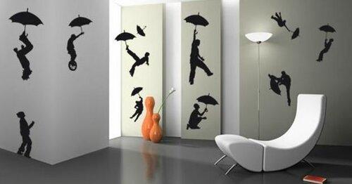 Декорирование стен силуэтными рисунками