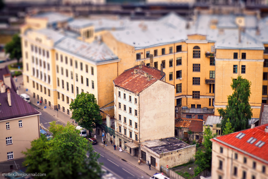 Латвия, Рига, Tilt-Shift, миниатюра, панорама Риги