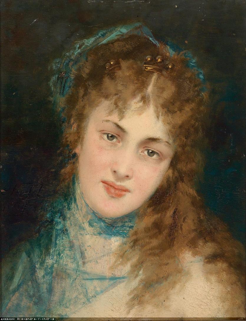 Conrad Kiesel (Düsseldorf 1846-1921 Berlin) Bildnis einer Dame mit blauem Tuch