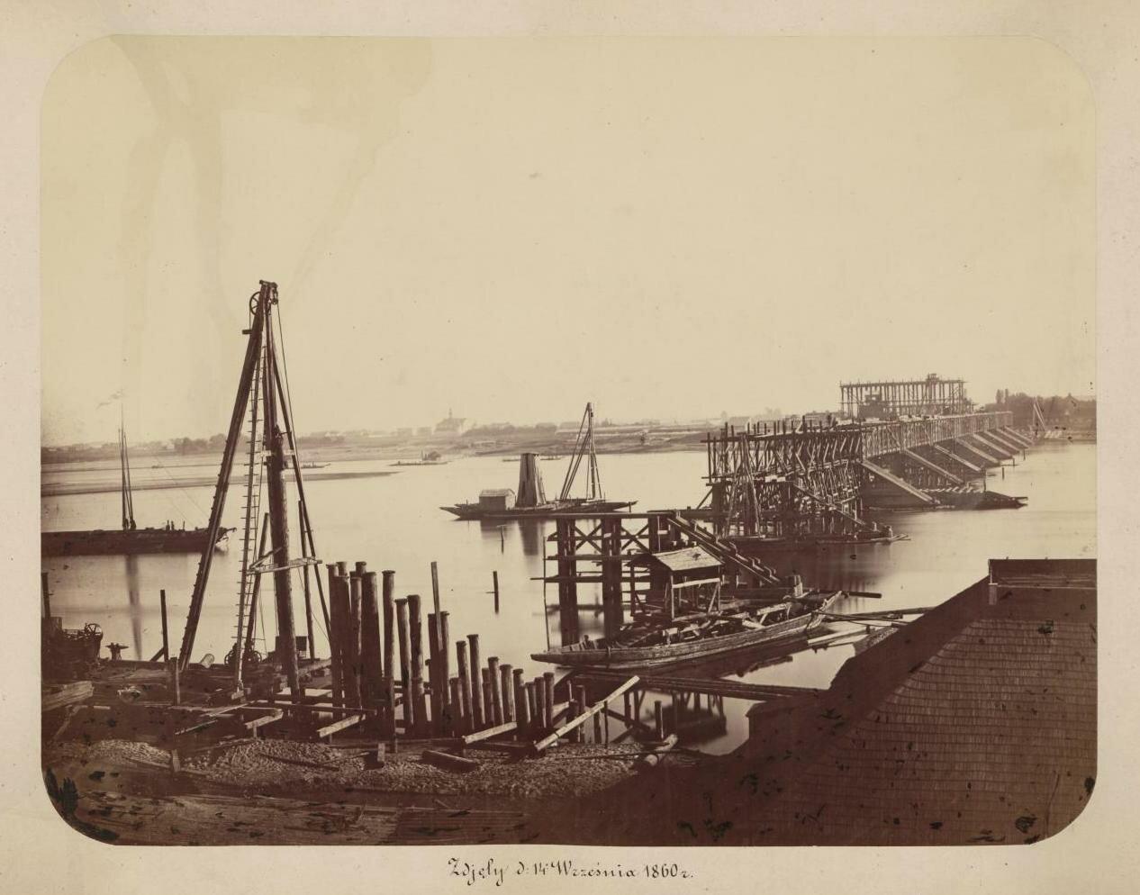 Строительство временного деревянного моста. 1860