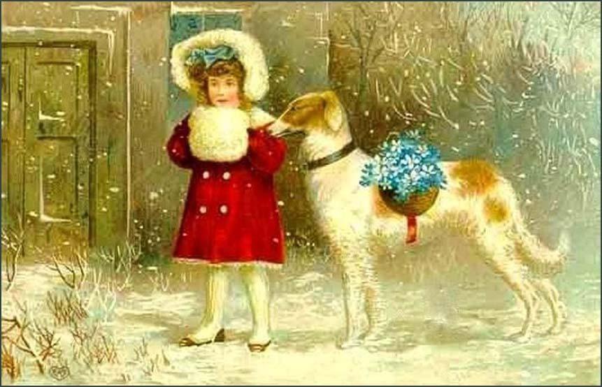 Девочка с муфтой и собака. Рождественская открытка