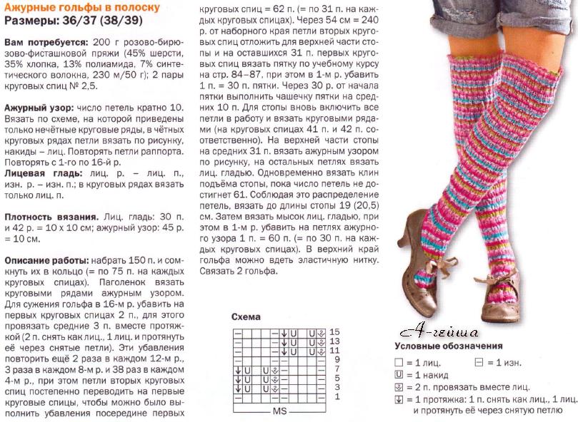 Вязание спицами гольф ажурных носков 67