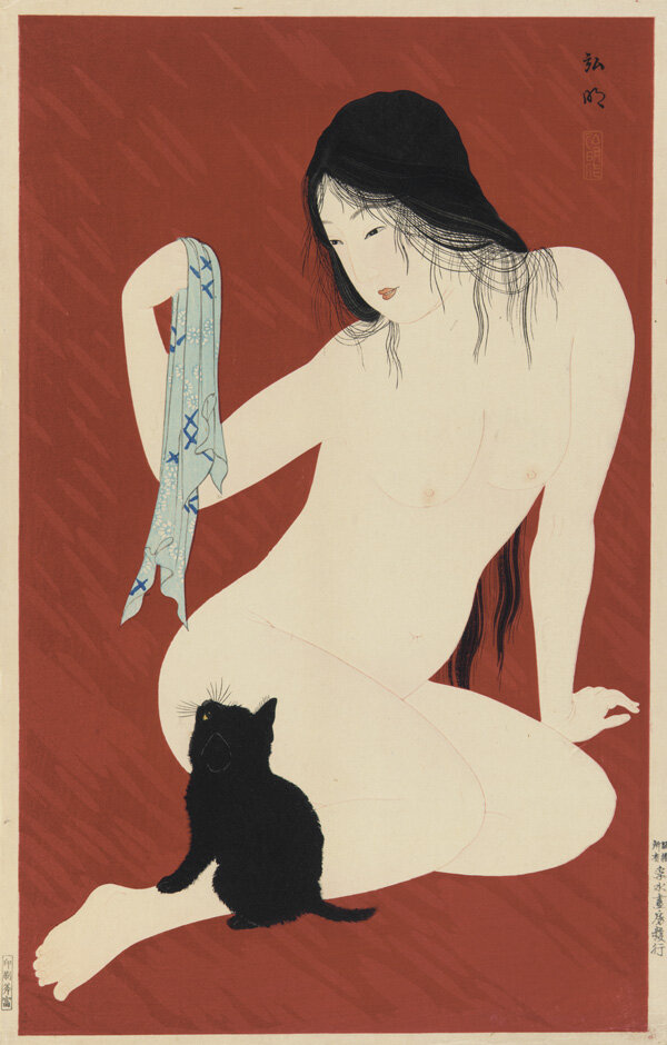 Nude with Black Cat, Takahashi Shotei