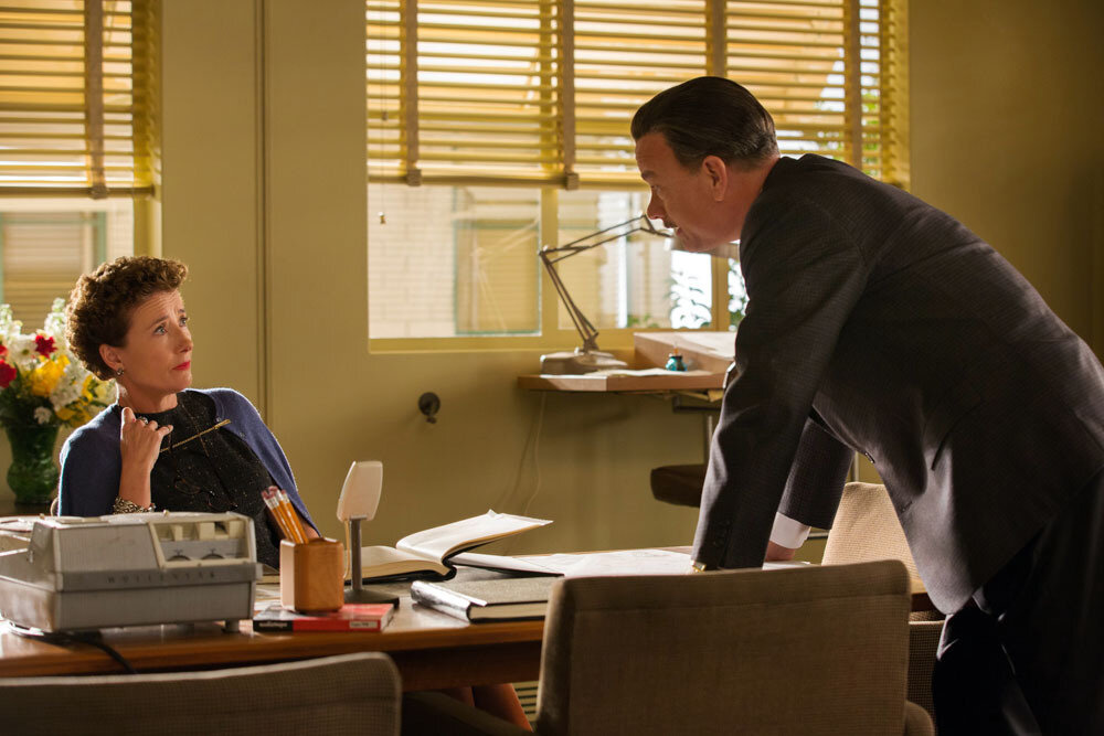 """""""SAVING MR. BANKS""""SMB_06692Walt Disney (Tom Hanks) confronts P.L. Travers (Emma Thompson), the prickly author of """"Mary Poppins,"""" as he tries to secure the rights to her book and fulfill a promise he made to his daughters inDisney's """"Saving Mr. Ban"""