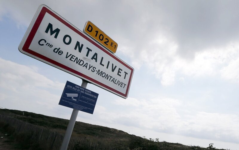 A sign indicates the village of Montalivet, where the Centre Helio-Marin naturist campsite is at, on the Atlantic coast in located in southwestern France