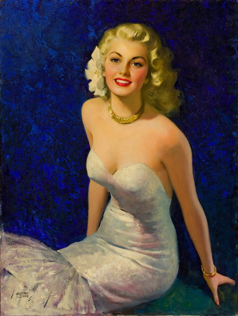 Andrew Loomis (1892-1959) - Blond in white evening dress