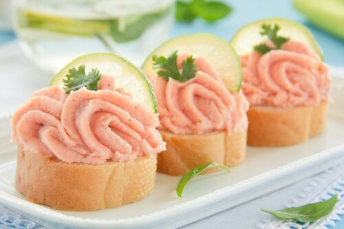 Canapés from the home of the red fish pate.