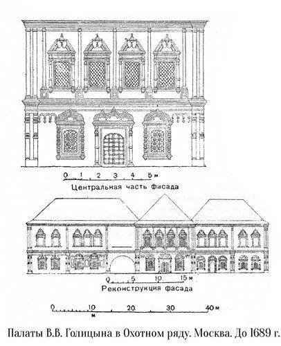 Палаты В.В. Голицына в Охотном ряду в Москве, чертежи