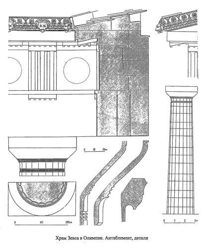 Храм Зевса в Олимпии, антабемент, капитель и другие детали дорического ордера