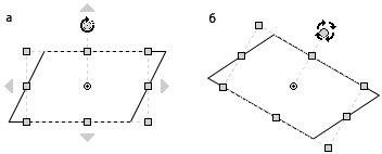 Рис. 4.11. Microsoft Visio позволяет вращать объекты: а — для управления вращением используется специальный маркер поворота; б — вы можете наблюдать за положением фигуры в процессе вращения