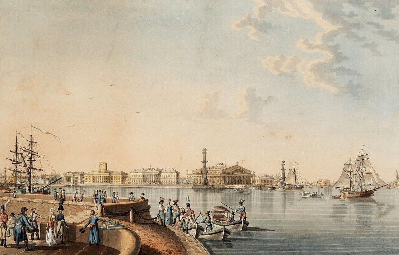 Вид на стрелку Васильевского острова с Дворцовой набережной