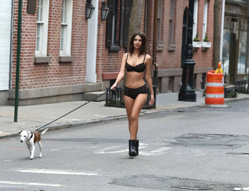 Эмили Ратаковски в белье с собачкой