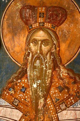 Святой Пророк Аарон. Фреска церкви Святого Димитрия в Пече, Косово, Сербия. 1322 - 1324 годы.