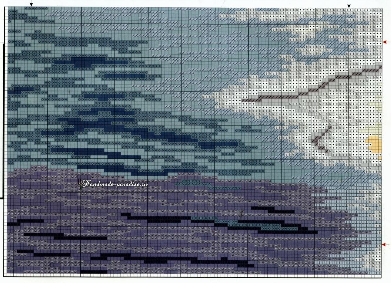 Схема вышивки крестом Следы на песке