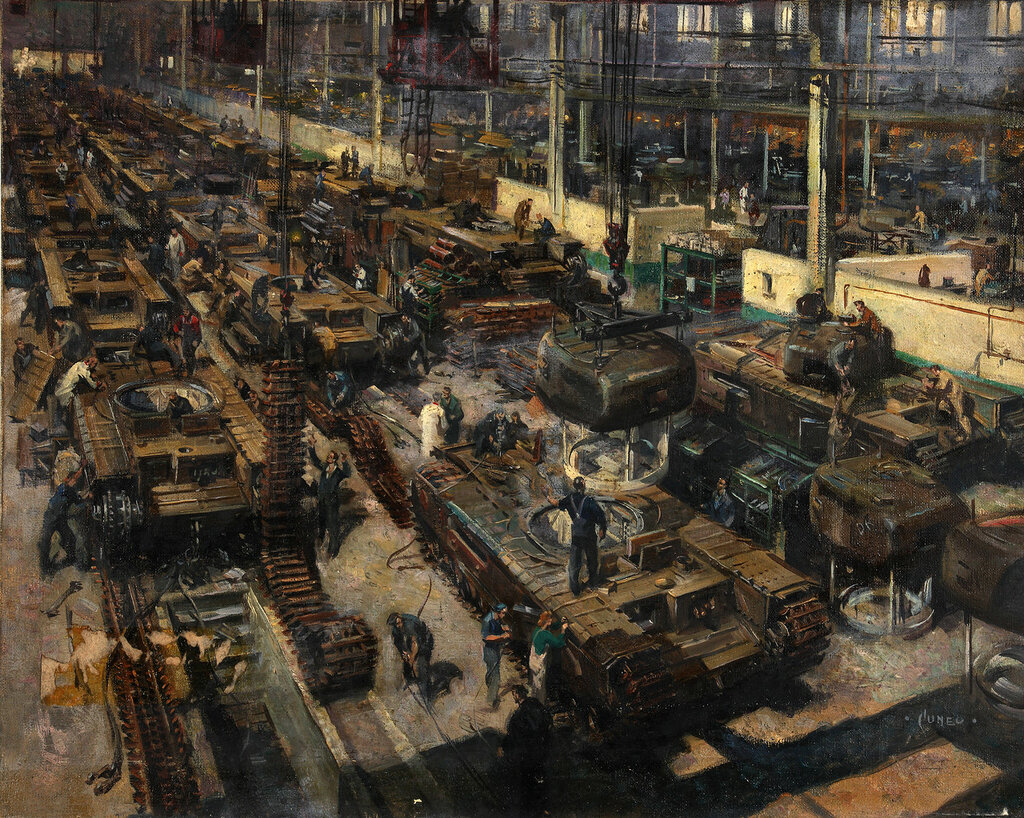 Terence Cuneo - Production of tanks