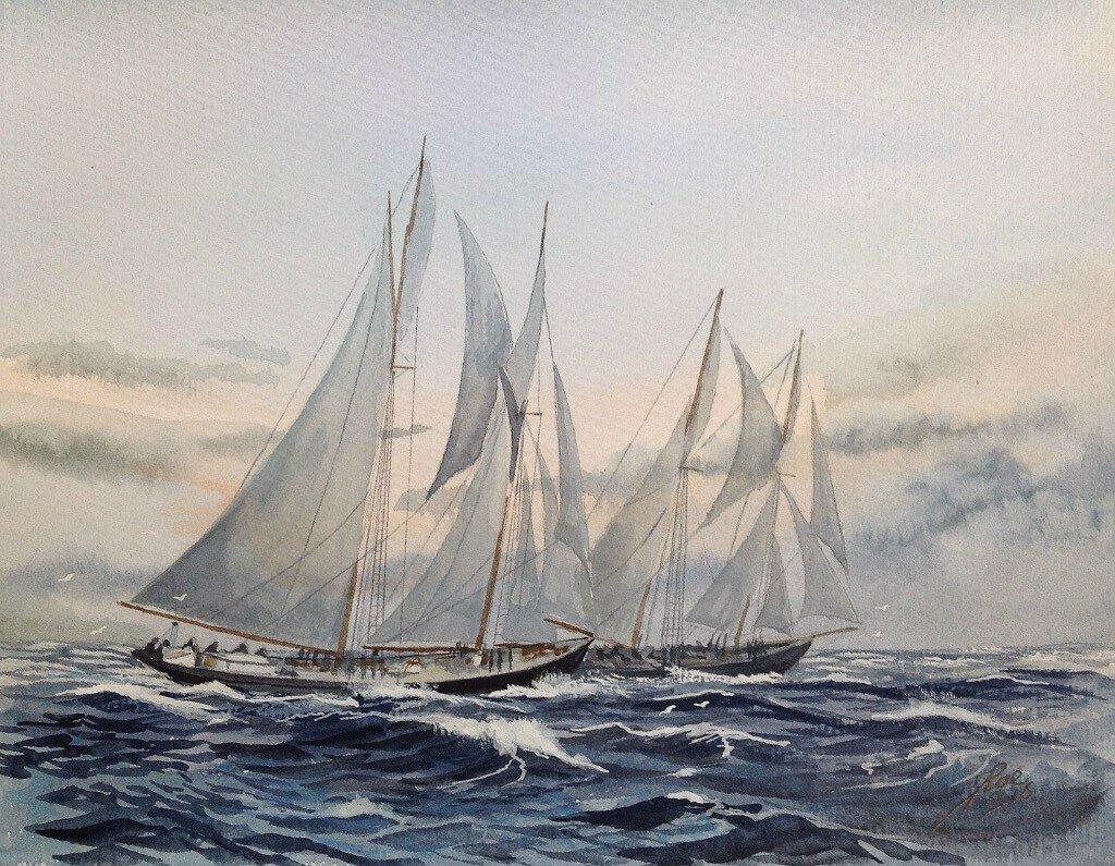 Hard Pressed!. Two schooners Racing.