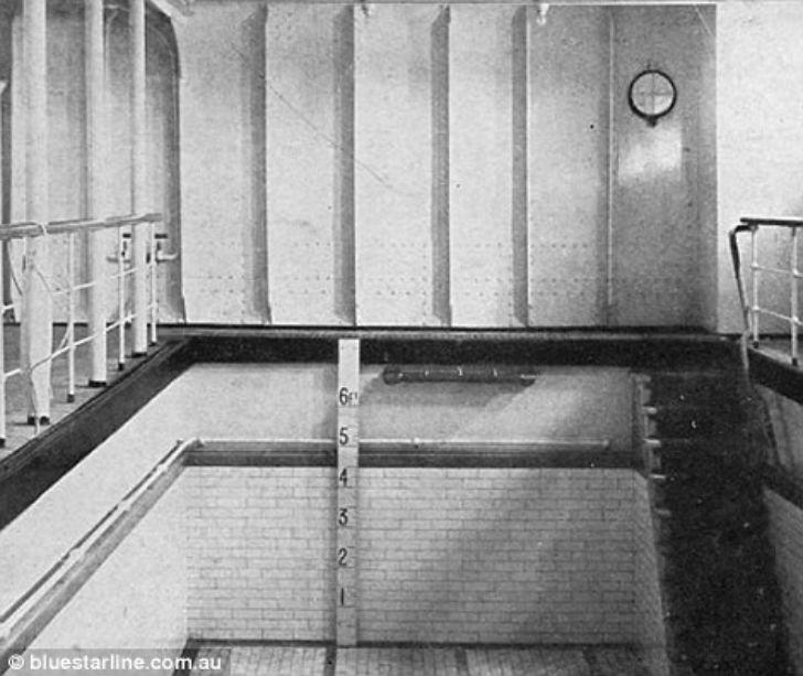 Небольшой бассейн на «Титанике» был заполнен морской водой.