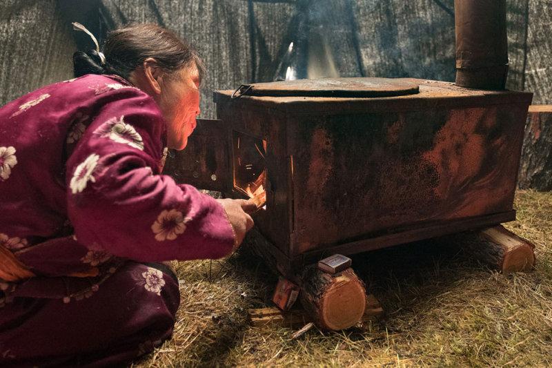 Пурев растапливает печь в юрте сушеным оленьим навозом.