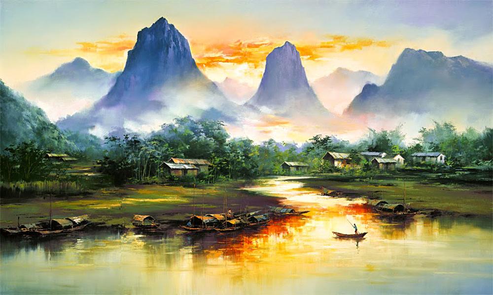 Китайско-американский художник Кен Хонг Лунг тонко чувствует цвет и умеет передать магию покоя. Его
