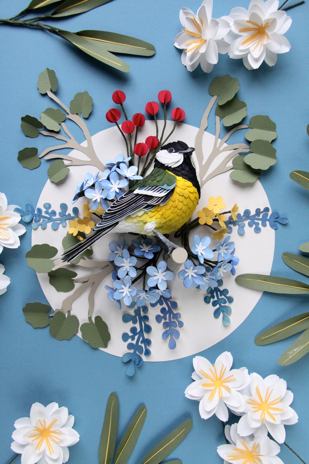 New Paper Bird Sculptures Juxtaposed With International Stamps by Diana Beltran Herrera