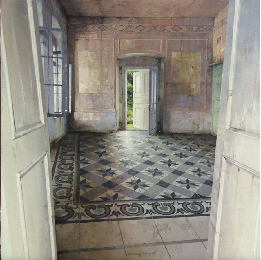Photorealistic Paintings of Desolate Interiors