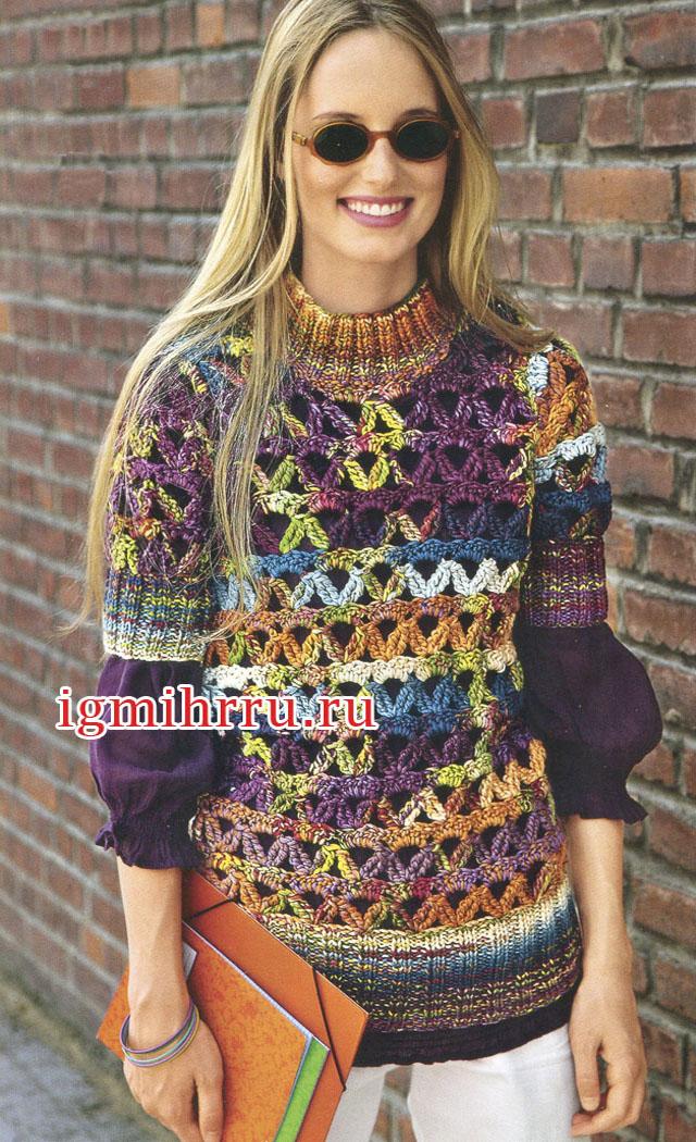 Меланжевый шерстяной пуловер с ажурным узором. Вязание крючком
