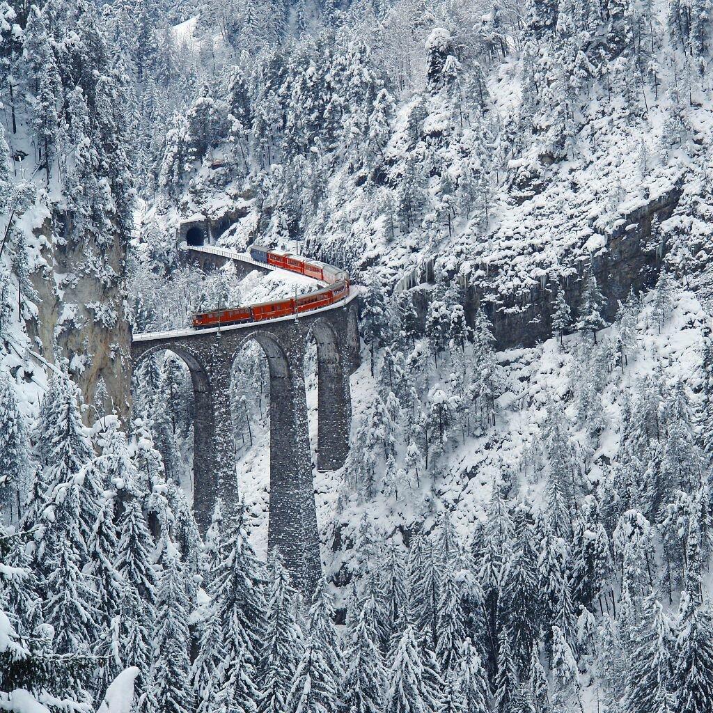 Виадук Ландвассер (Landwasser Viaduct, Graubьnden, Switzerland).