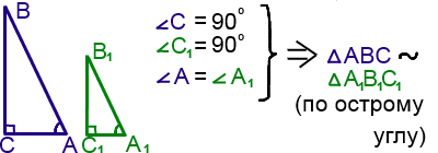 признак подобия прямоугольных треугольников: по острому углу