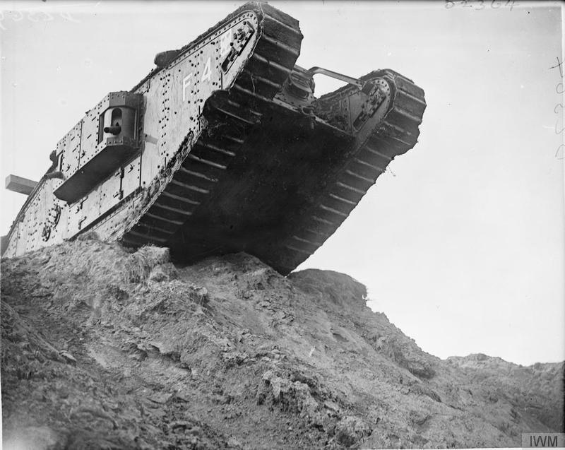 Tank F4 poised on top of a rise which it is about to descend at the Tank Driving School during the special training for the Battle of Cambrai at Wailly, 21 October 1917.