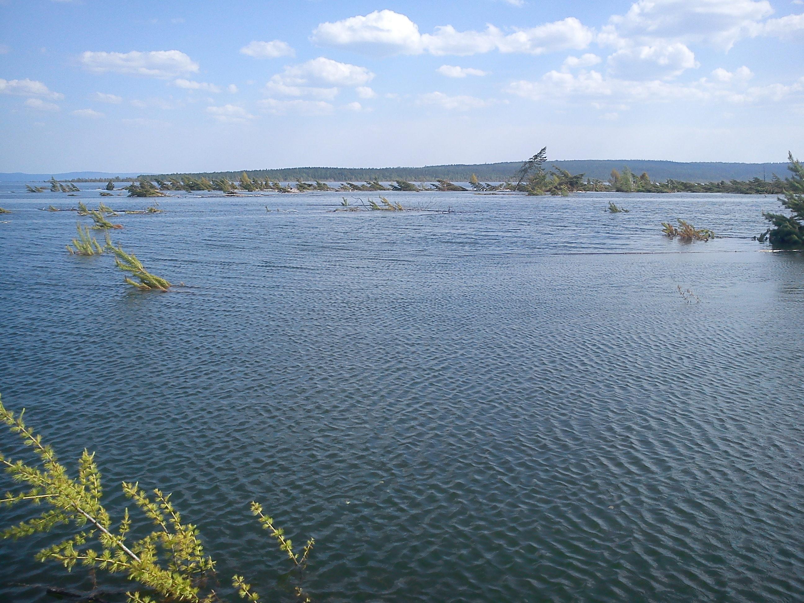 25.06.2014 г., Богучанское водохранилище. На этом месте, под водой, стояла когда-то деревня Проспихино