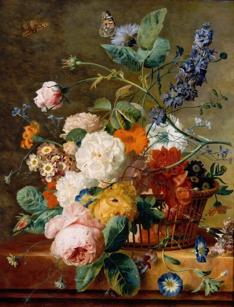 Хейсум, Ян ван (Амстердам 1682-1749) -- Корзина с цветами и бабочки