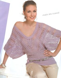 Ажурные крылья весны - блуза крючком из Журнала Мод № 494