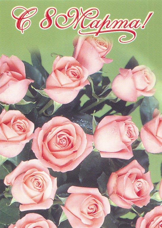 Букет розовых роз к 8 Марта